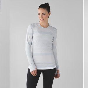 Lululemon Think Fast Om Stripe Long Sleeve Sz 8